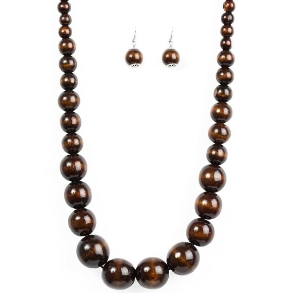 brown wood bead necklace w/ matching earrings